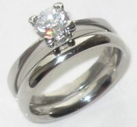 368 SOLITAIRE ENGAGEMENT SIMULATED DIAMOND RING WEDDING BAND SET STAINLESS STEEL