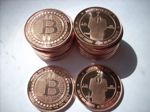100-1 OZ COPPER COINS BITCOIN ROUND *ANONYMOUS MAN* ANONYMOUS MINT COIN 1-5-20