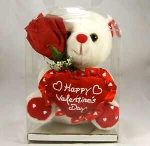 White Teddy Bear 6 Happy Valentine S Day With Clear Box Red