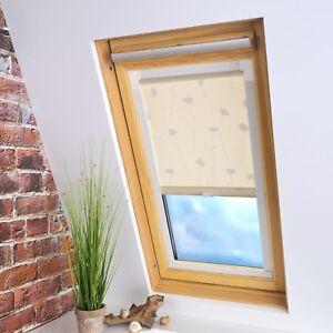 dachfensterrollo universal rollo dachfenster dekorrollo dekor blumen beige ebay. Black Bedroom Furniture Sets. Home Design Ideas