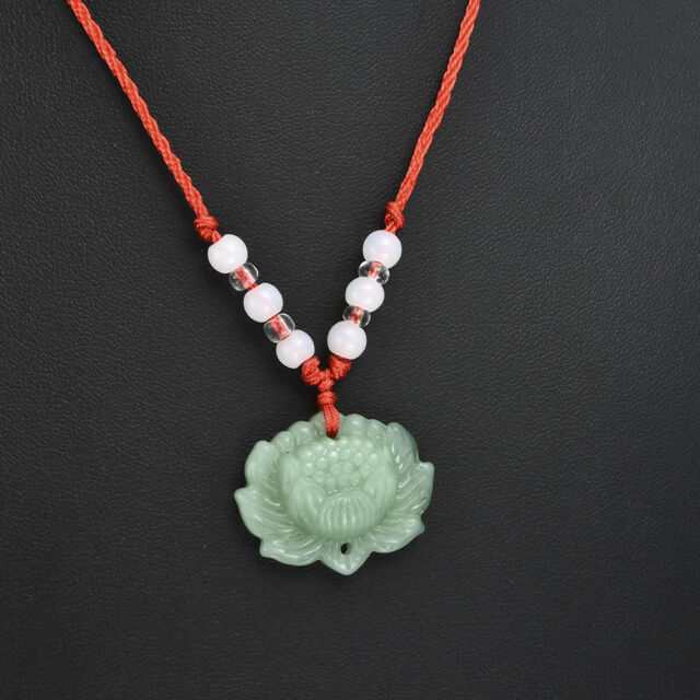 Vintage Unisex Natural Luck Green Jade Lotus Pendant Necklace Fashion Lucky TR