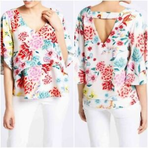 NEW-M-amp-S-Ladies-WHITE-Floral-Print-Layered-Summer-Top-Size-8-22