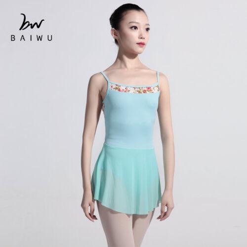Floral Lace Mesh Ballet Dress Ballet Leotards with Skirts Baiwu Dance 117142206