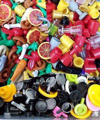 LEGO NEW LOT OF MINIFIGURE FOOD APPLE STEAK PIE CARROT ICE CREAM HOTDOG MORE