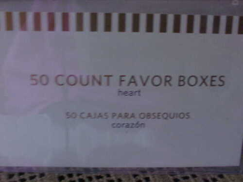 """Favor Boxes Heart With Pink Ribbon 50 Per Box By Best Occasions 3/"""" tall NEW"""