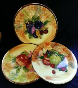 3 x Hose St Pottery Tunstall M+A Bloor Fruit Pattern Plates   FREE Delivery UK*