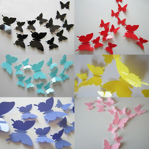 12Pcs-3D-DIY-Wall-Sticker-Stickers-Butterfly-Home-Decor-Room-Decorations-TDCA