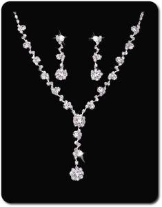 Details zu Schmuckset Ohrringe Set Halskette Strass Braut Ohrstecker Collier Kette