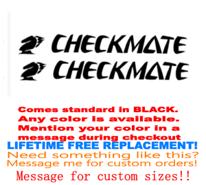 "PAIR OF 4/""X28/"" CHECKMATE BOAT HULL DECALS YOUR COLOR CHOICE 57 MARINE GRADE"