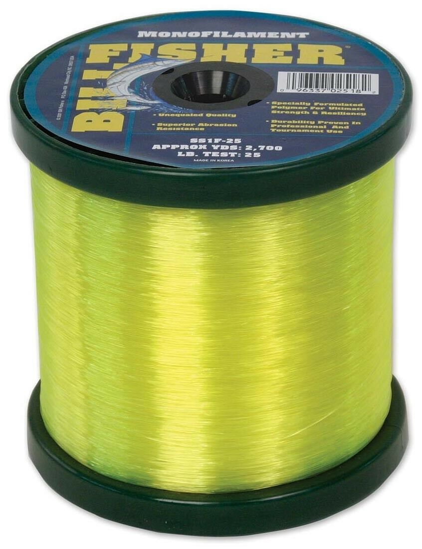BILLFISHER Fishing Line Monofilament Hi Vis 50lb Test 2lb Spool - Yellow SS2F-50