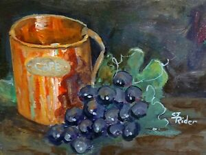 Still-Life-original-Acrylic-painting-Alla-Prima-with-Copper-Cup-and-Grapes