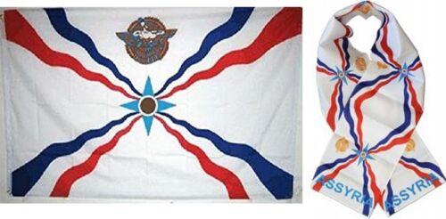Großhandel Kombi-Set Assyrian Land 3x5 3'x5' Flagge And 20.3cmx152cm Schal
