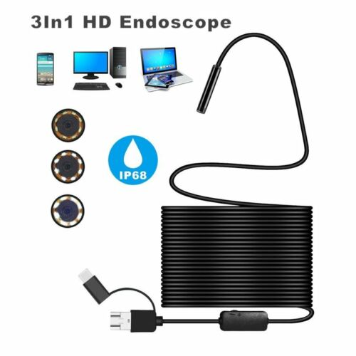 3in1 USB TYPE-C Snake Endoscope Inspection Camera 6//8 LED IP67 ANDROID PCN DF