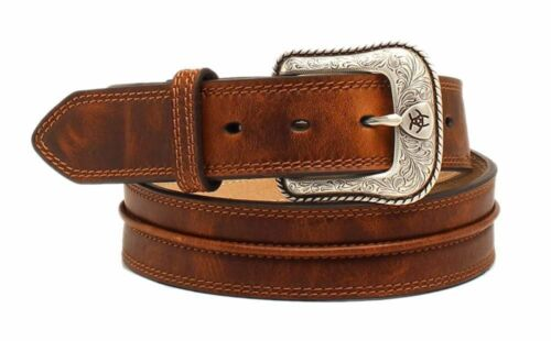 Ariat Western Mens Belt Leather Center Bump Aged Bark A1019444