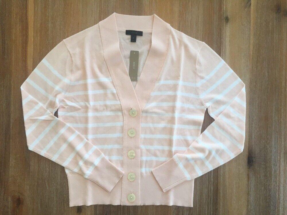 NWT J Crew Cropped Lightweight Striped Cardigan in Pink - S,M,L,XXL