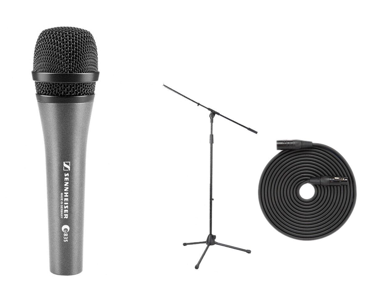 Sennheiser E 835 Cardioid Dynamic Vocal Microphone + Mic Stand + 18' XLR