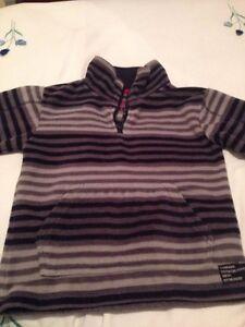 Boys-Rebel-Dark-Light-Grey-Striped-Fleece-Winter-Jumper-Size-5-6-Years