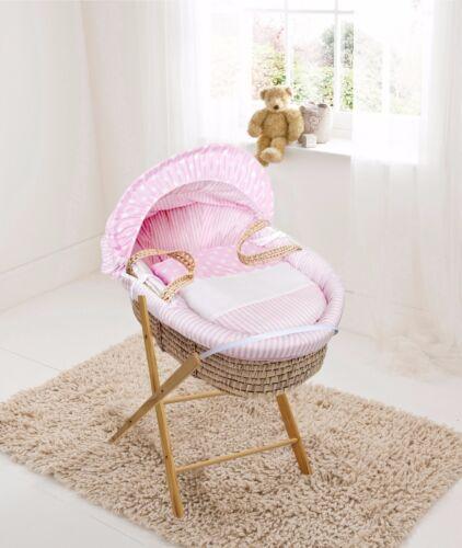 Pink Spots /& Stripes Palm Moses  Basket /& Folding Stand
