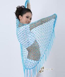 Diligent Triangle Crochet Sequins Fringe Belly Dance Scarf Shawl Veil 10 Colors