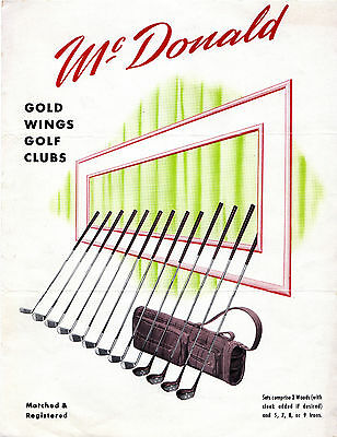 Tom McDonald GOLF CLUB BAG CLUBS BALL Vintage 1940's Advertising Catalog CHICAGO