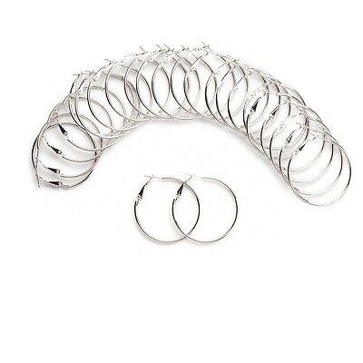 Lot of 12 Pair Big Round Steel Hoop Earrings with Hinged Leverback Latch Closure