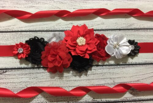 Black,And Silver Christmas Holiday Maternity Sash Belt Baby Shower Sash Red