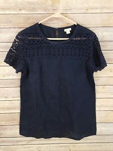 J-Crew-Womens-Linen-Lace-T-Shirt-Tee-Boxy-Navy-Blue-Short-Sleeve-Lightweight-2