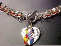 Autism Awareness Bracelet Color Puzzle Ribbon Heart Link Toggle