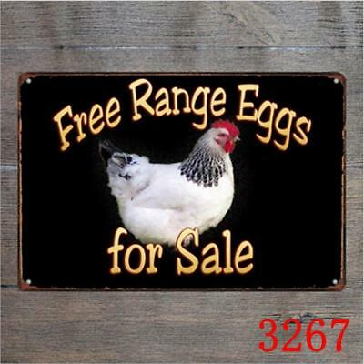 Free Range Eggs For Sale Vintage Tin Signs Metal Plate Decor Art Wall Poster Ebay