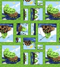Fat Quarter Paul the Frog Susybee Blocks Cotton Quilting Fabric