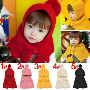 1b4e17ea4e74 Hi Toddler Knit Baby Crochet Winter Warm Hooded Hat Cap Scarf Shawl ...