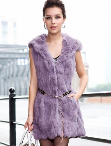 Genuine Real Natural 100/% Rex Rabbit Fur Vest Womens Ladies Long Jacket Coat sz