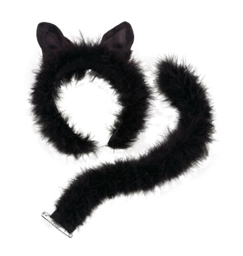 Women Ladies Deluxe Marabou Cat Set on Ears,Headband /& Tail Partyfun Accessories