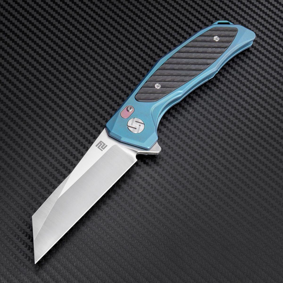 Atz 1809 gbus artisan Falcon s35vn Blade azul Cochebon fiber Titanium handle framelo
