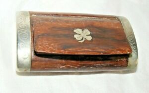 VINTAGE-ANTIQUE-ROSEWOOD-INLAID-FOR-LEAF-CLOVER-SNUFF-BOX
