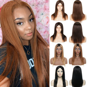 Honey-Brown-Natural-Straight-Human-Hair-Wig-100-Remy-Indian-Full-Wig-Us-Stock-C