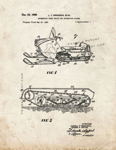 Snowmobile Tread Drive And Suspension System Patent Print Old Look