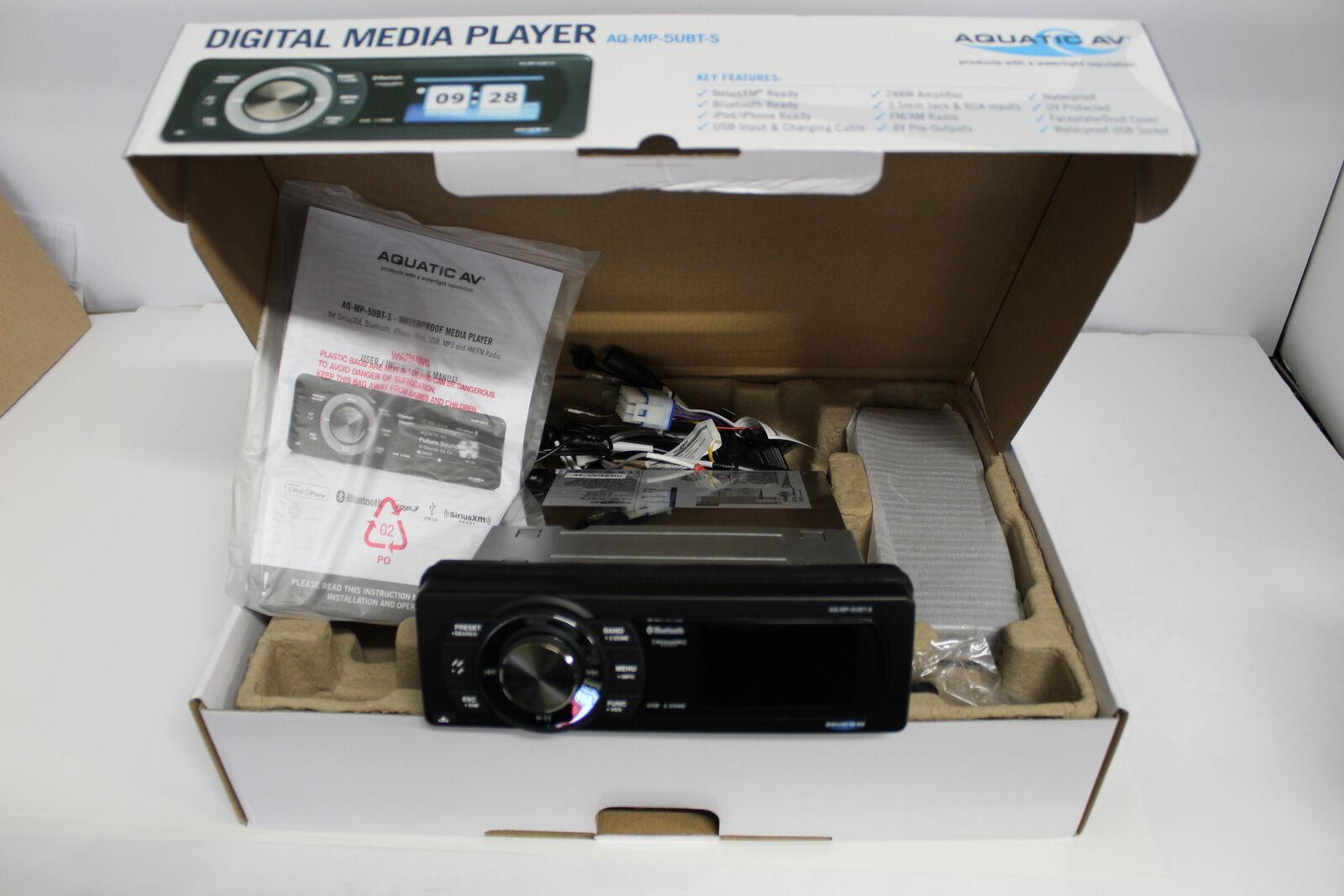 Aquatic AV AQ-MP-5UBT-S Waterproof Dock Bluetooth Marine Digital Media Receiver