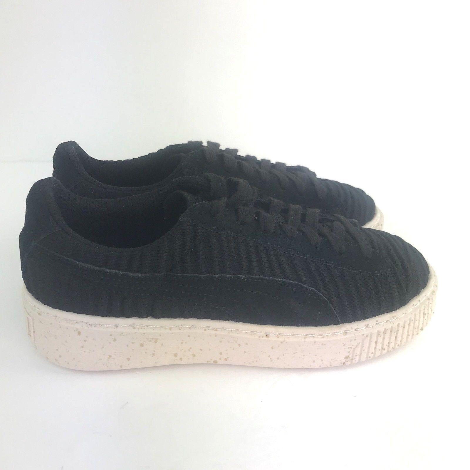 PUMA Evoknit Black Platform Gold Fleck Lace Up Sneakers Shoes Women's Sz 8 New