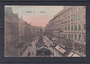 AK-Wien-1-Graben-sehr-schoen-Coloriert-gelaufen-1910-nach-Lille-in-Frankreich