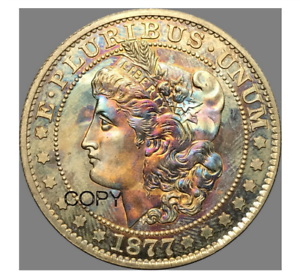 United States of American 1877 Morgan Half Dollar Brass Silver Plated USA Coin