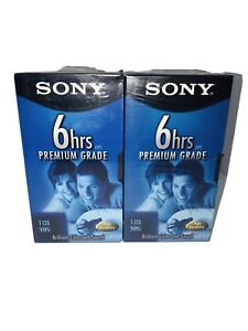 Sony Premium VHS Tapes Blank Recordable 2 Pack 6hrs T-120 New Sealed