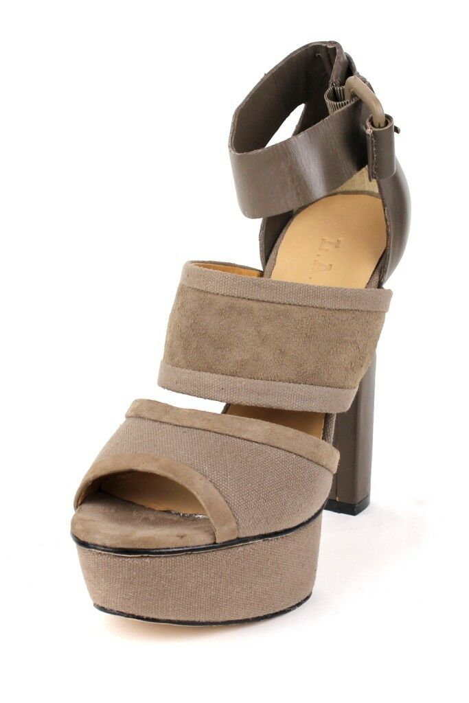 L.A.M.B. damen BURNET Taupe Sandal Heels Leather Canvas Platform Buckle Ankle