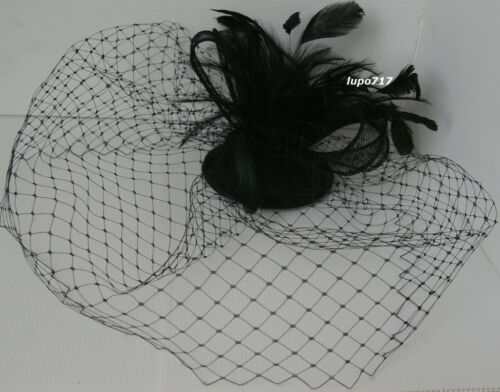 BLACK HAT NETTING FEATHERS SINAMAY COMB FASCINATOR WEDDING ASCOT RACE HEN PARTY