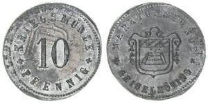 Geiselhöring 10 Pfennig 1915 Emergency Money Lack Coinage/Überprägung XF