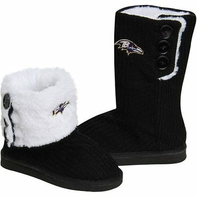 NFL Football Team Logo Womens High End Knit BUTTON BOOT Slippers