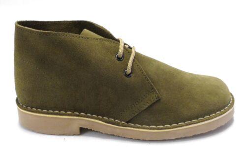 Kaki Retro 70s MOD Style Real Suede Desert Boots