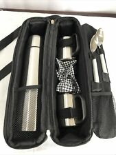 11 Piece Traveling Picnic at Ascot Deluxe Vienna Travel Coffee Tote for 2 Including Stainless Steel Vacuum Thermos Flask Cups Coffee Spoons