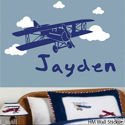 Personalised Name & Biplane, Clouds Kids Nursery Removable Wall Sticker/Decal