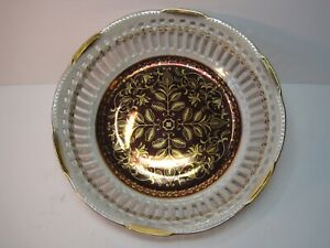 Golden-Fantasy-Ohashi-China-Nagoya-1932-Lusterware-Pierced-Bowl-Gold-Accent-8-034-D